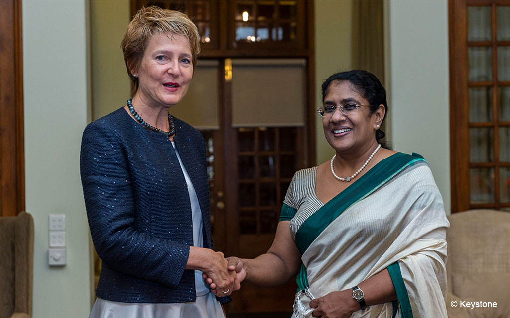 Federal Councillor Simonetta Sommaruga meets Thalatha Atukorale, Minister of Justice and Prison Reforms of Sri Lanka