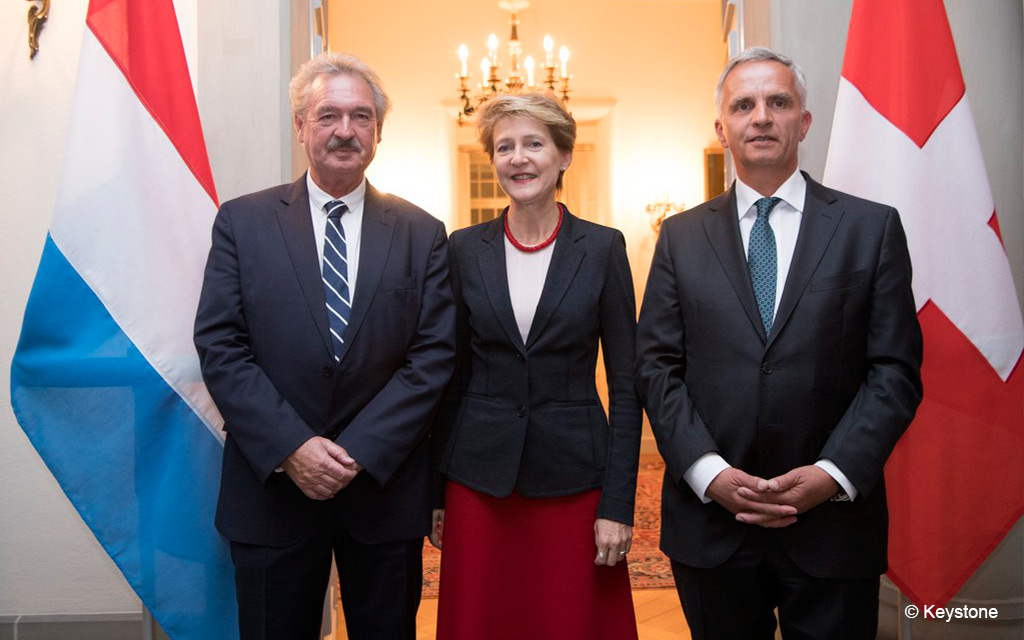From left to right: Jean Asselborn, foreign minister of Luxembourg, Federal Councillor Simonetta Sommaruga and Federal Councillor Didier Burkhalter